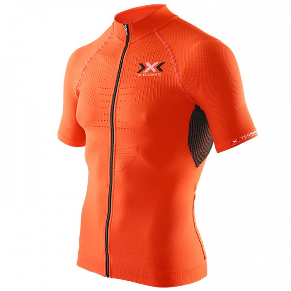 X-BIONIC Kurzarmtrikot Bike Race The Trick schwarz - orange Für Herren